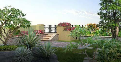 山水城江先生别墅花园设计有:欧式大凉亭,叠水双池鱼池,长景观池,景墙