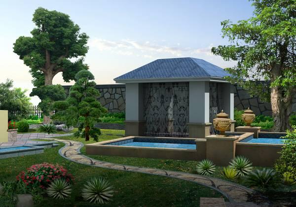 详情介绍: 恒大山水城江先生别墅花园设计有:欧式大凉亭,叠水双池