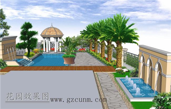 下图 欧式庭院景观设计效果图有:景观池,欧式凉亭,跌水池,流水景墙