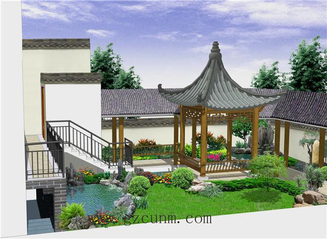 中式别墅庭院设计效果图图片