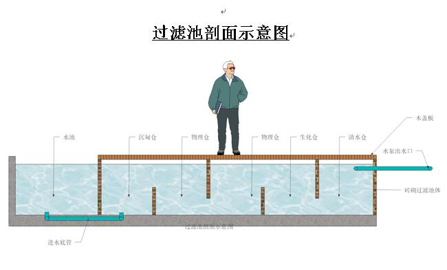 鱼池过滤系统剖面示意图