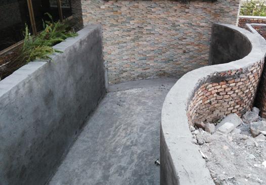 别墅庭院鱼池施工实景图