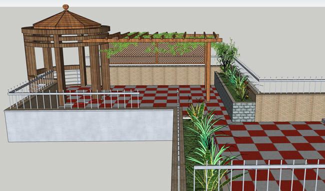 別墅樓頂花園設計效果圖