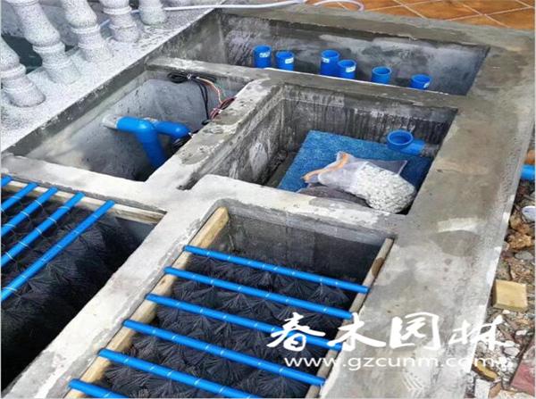 鱼池过滤池系统布管图